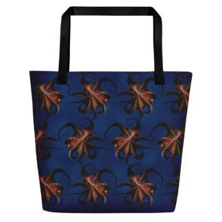 CAVIS Flying Octopus Beach Bag - Bright Blue Tote