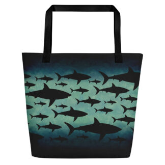 CAVIS Shark Pattern Beach Bag - Black Handle