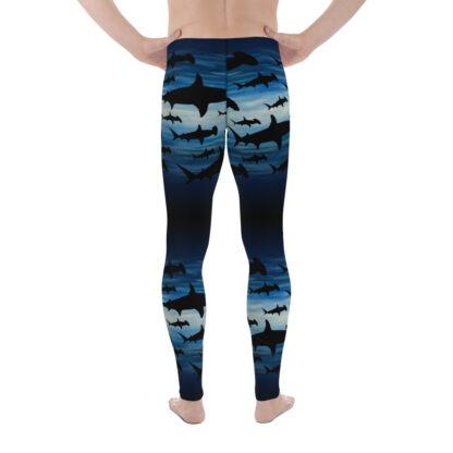 CAVIS Hammerhead Shark Pattern Leggings - Men's Scuba Leggings - Back