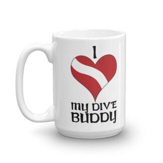 CAVIS Dive Flag Heart Mug, I Love My Dive Buddy Scuba Coffee Cup Gift - 15 oz.