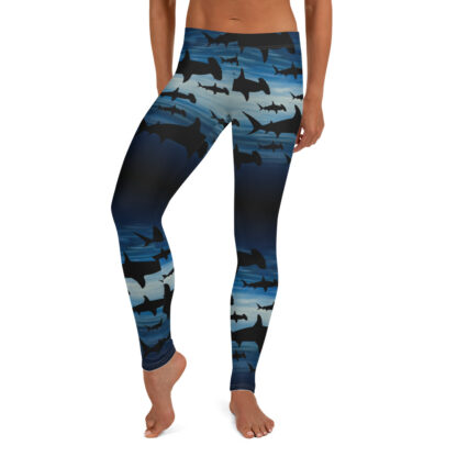 CAVIS Hammerhead Shark Pattern Leggings - Women's Scuba Leggings - Front