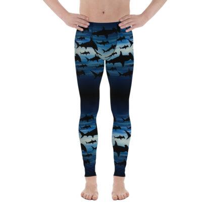 CAVIS Hammerhead Shark Pattern Leggings - Men's Scuba Leggings - Front