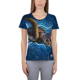 CAVIS Tea Turtle Women's Tech Athletic Shirt - Blue - Front