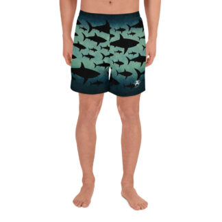CAVIS Shark Pattern Men's Athletic Shorts - Front