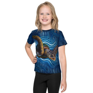 CAVIS Tea Turtle Kid's Shirt - Blue - Front