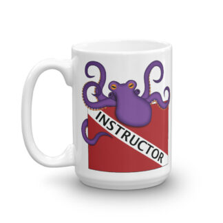 CAVIS Purple Octopus Dive Flag Mug, Scuba Instructor Coffee Cup Gift - 15 oz. - Front
