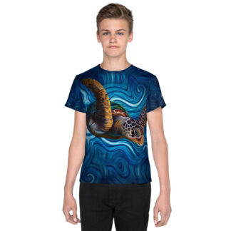 CAVIS Tea Turtle Youth Shirt - Blue - Front