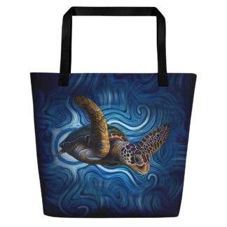 CAVIS Sea Turtle Beach Bag - Artsy Sea Life Tote