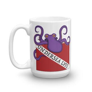 CAVIS Purple Octopus Dive Flag Mug, Scuba Undersea Life Coffee Cup Gift - 15 oz. - Front