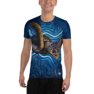 CAVIS Tea Turtle Men's Tech Athletic Shirt - Blue - Front