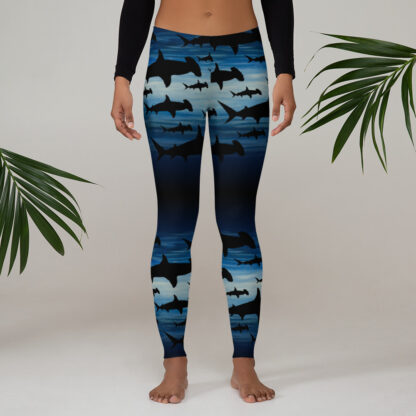 CAVIS Hammerhead Shark Pattern Leggings - Women's Scuba Leggings - Lifestyle 1