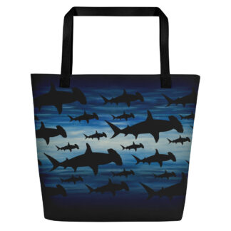CAVIS Hammerhead Shark Pattern Beach Bag - Black Handle