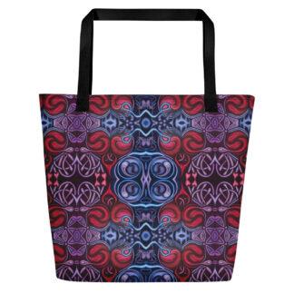 CAVIS Celtic Heart Pattern Beach Bag - Black Handle