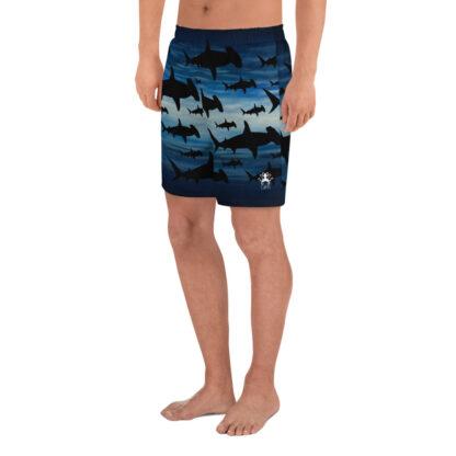 CAVIS Hammerhead Shark Pattern Men's Athletic Shorts - Left