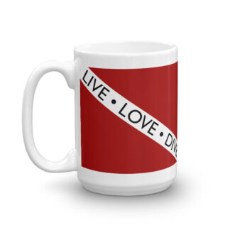 CAVIS Dive Flag Mug, Live Love Dive Scuba Coffee Cup Gift - 15 oz.