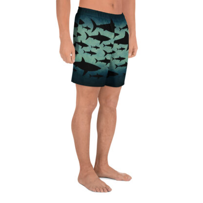CAVIS Shark Pattern Men's Athletic Shorts - Right
