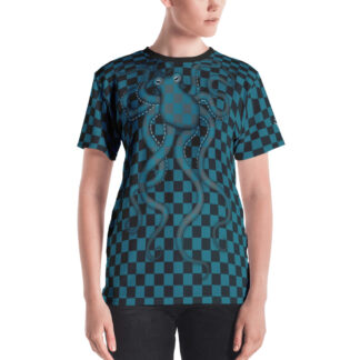 CAVIS 80's Retro Style Checkered Camouflage Octopus Shirt - All Over Print T-shirt - Women's - Front
