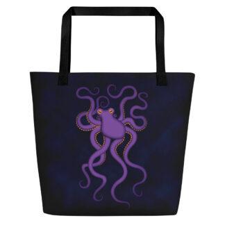 CAVIS Purple Octopus Beach Bag - Dark Blue Background