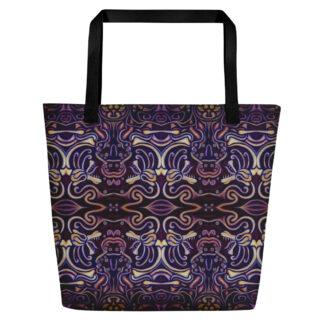 CAVIS Celtic Big Dragon Pattern Beach Bag - Black Handle