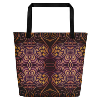 CAVIS Celtic Dragon Pattern Beach Bag - Black Handle
