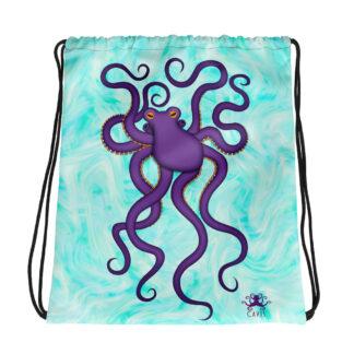 CAVIS Purple Octopus Drawstring Bag - Light Background