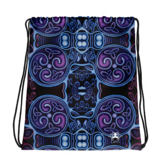 CAVIS Celtic Heart Drawstring Bag - Purple and Blue Pattern
