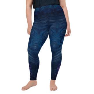 CAVIS Dark Blue Water Pattern Women's Plus Size High Waist Leggings, Surreal World Octopus Dive Skin - Front