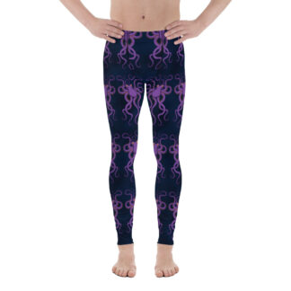 CAVIS Purple Octopus Pattern Men's Leggings - Dark Blue Scuba Diver Leggings - Front