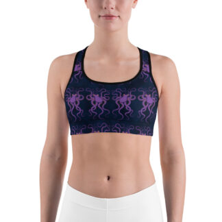 CAVIS Purple Octopus Pattern Women's Sports Bra - Dark Blue Alternative Swimsuit - Front