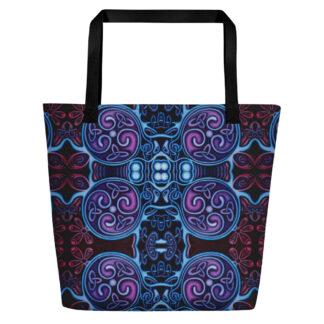 CAVIS Celtic Soul Pattern Beach Bag - Black Handle