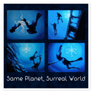 CAVIS Scuba Diver Silhouette Sticker - Same Planet, Surreal World Decal - 5.5 inch