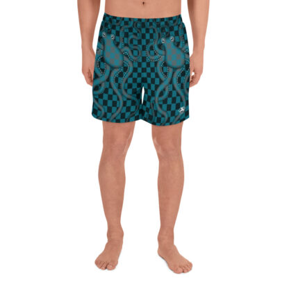 CAVIS 80's Retro Style Checkered Camouflage Octopus Athletic Shorts - Men's - Front