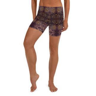 CAVIS Celtic Dragon Boy Shorts - Burgundy Pattern Yoga Shorts - Alternative Athletic Swim Bottom - Front