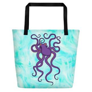 CAVIS Purple Octopus Beach Bag - Light Background