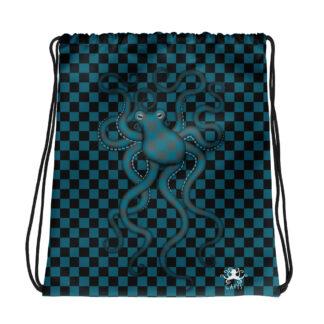 CAVIS 80's Retro Style Checkered Camouflage Octopus Drawstring Bag