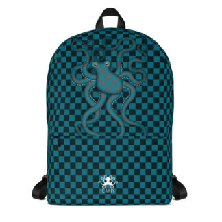 CAVIS 80's Retro Style Checkered Camouflage Octopus Backpack - Book Bag - Front