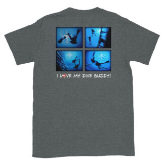 CAVIS Scuba Diver Silhouette - I Love My Dive Buddy T-Shirt - Heather Gray - Back