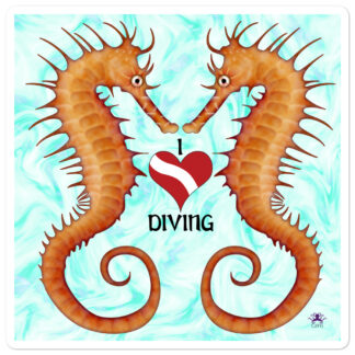 CAVIS Seahorse - I Love Diving - Sticker - Large