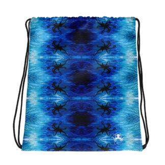 CAVIS Blue Ocean Octopus Silhouette Drawstring Bag