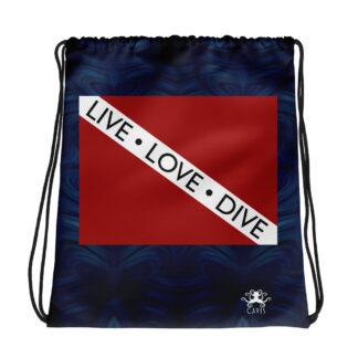 CAVIS Dive Flag Drawstring Bag - Live Love Dive