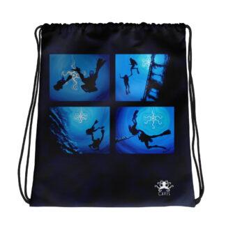 CAVIS Scuba Diver Silhouette Drawstring Bag