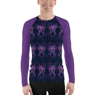CAVIS Purple Octopus Pattern Men's Rash Guard - Dark Blue Scuba Diver Swim Shirt - Front