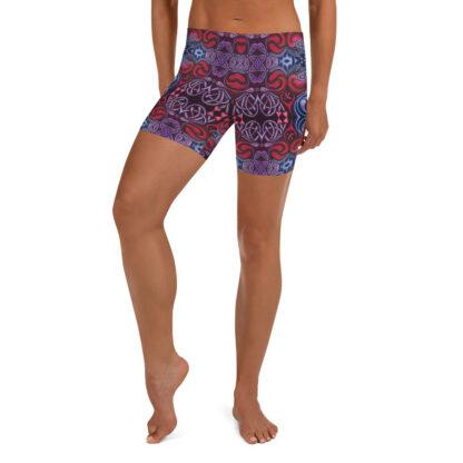 CAVIS Celtic Heart Boy Shorts - Red Blue Pattern Yoga Shorts - Alternative Athletic Swim Bottom - Front