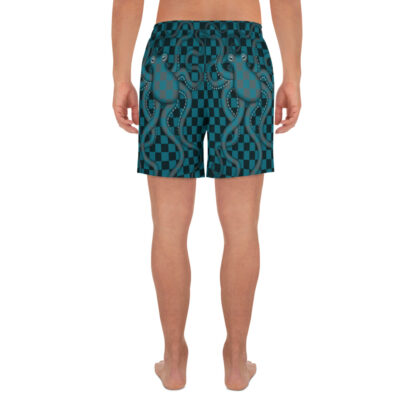 CAVIS 80's Retro Style Checkered Camouflage Octopus Athletic Shorts - Men's - Back