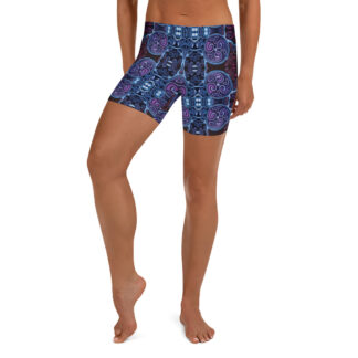 CAVIS Celtic Soul Boy Shorts - Purple Blue Pattern Yoga Shorts - Alternative Athletic Swim Bottom - Front