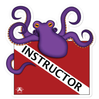 CAVIS Dive Flag Purple Octopus Sticker - Instructor - Large