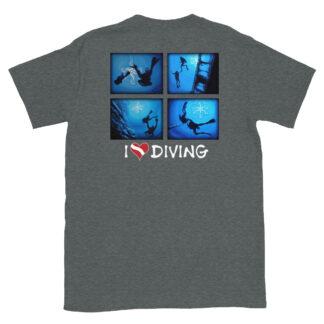 CAVIS Scuba Diver Silhouette - I Love Diving T-Shirt - Heather Gray - Back