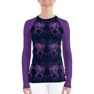 CAVIS Purple Octopus Pattern Women's Rash Guard - Dark Blue Scuba Diver Swim Shirt - Front