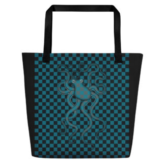 CAVIS 80's Retro Style Checkered Camouflage Octopus Beach Bag - Tote Bag