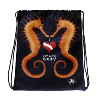 CAVIS Seahorse Drawstring Bag - I love My Dive Buddy